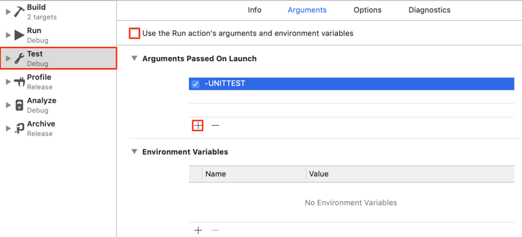 Adding an argument to the test action