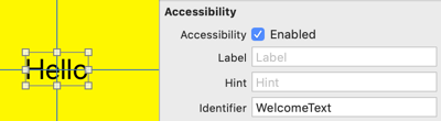 Label accessibility identifier