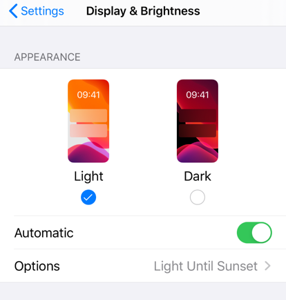 iPhone Display Settings with automatic appearance enabled