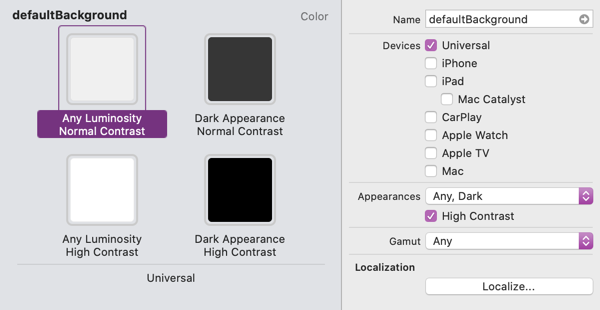 A dynamic color defined in the asset catalog