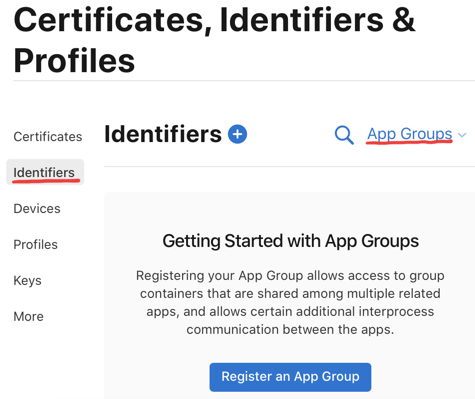 Create App Group identifiers in developer portal