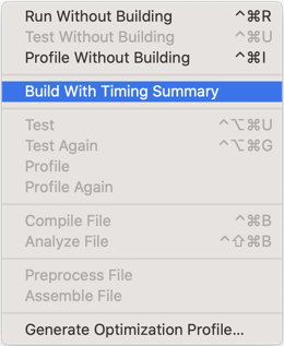 Xcode perform action menu with Build With Timing Summary selected