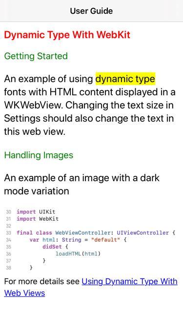 Web content in default light mode
