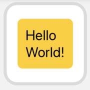 Small widget preview. Hello World! text in yellow rounded rectangle