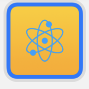 Small widget preview of atom image with blue rounded border