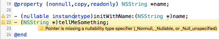 Xcode warning - missing annotation