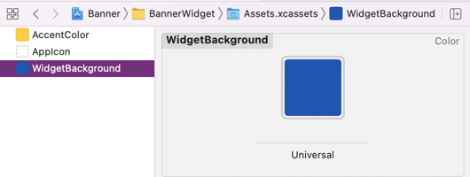 Widget Asset Catalog with WidgetBackground set to dark blue