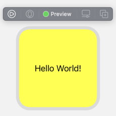 "Small widget preview with yellow background and centered black text ""Hello World!"""