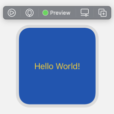 "Small widget preview with dark blue background and centered yellow text ""Hello World!"""