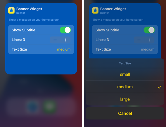 Widget configuration screen, blue background, yellow accent