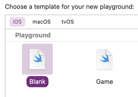 Xcode template browser with blank iOS playground selected