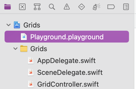 Xcode project navigator showing Playground.playground file