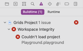 Xcode Workspace Integrity - Couldn't load project Playground.playground