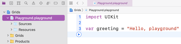 Xcode project navigator with valid playground