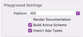 Playground settings with Import App Types enabled