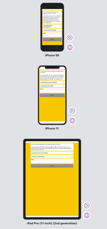 Xcode previews for three devices