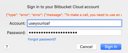 Bitbucket account error in Xcode 11