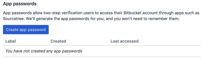 Bitbucket App passwords