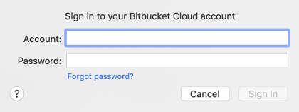 Bitbucket account and password