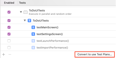 Xcode Scheme Editor - convert to use test plans