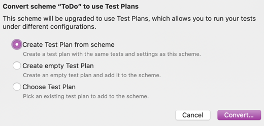 Convert Scheme to use Test Plans - options