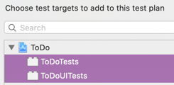 Select the Unit Test target