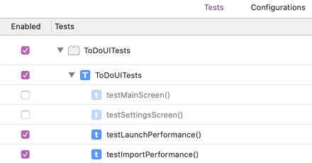 Just the two performance tests are selected
